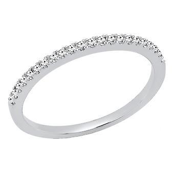 Dazzlingrock Collection 0,15 Carat (CTW) 14K rund hvid diamant damer bryllup stabel bar band, hvid guld
