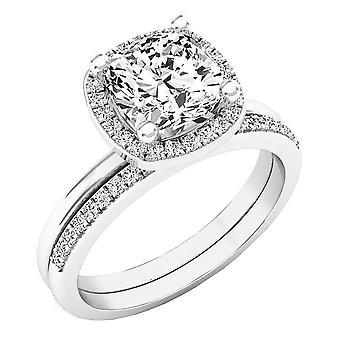 Dazzlingrock Collection 10K 7 MM Cushion Lab Created White Sapphire & Round Diamond Ladies Ring Set, White Gold