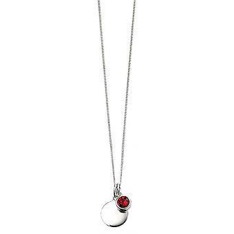 Beginnings July Swarovski Birthstone Pendant - Silver/Red