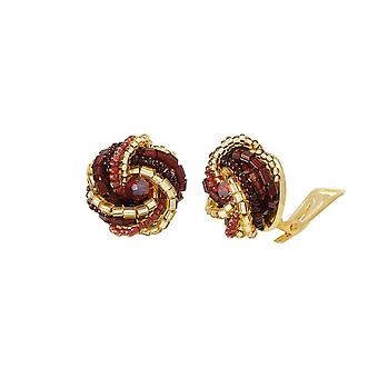 Eternal Collection Opulenza Red And Gold Venetian Murano Glass Torsade Mini Stud Clip On Earrings
