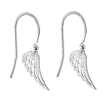 Ah! Jewellery Sterling Silver Open Work Angel Wing Fish Hook Earrings, Stamped 925