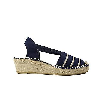 La Maison De L'Espadrille 652 TB Navy/White Canvas Womens Pull On Wedge Espadrille Shoes