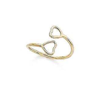 14k Yellow Gold Double Wire Heart Adjustable Toe Ring Jewelry Gifts for Women - .9 Grams
