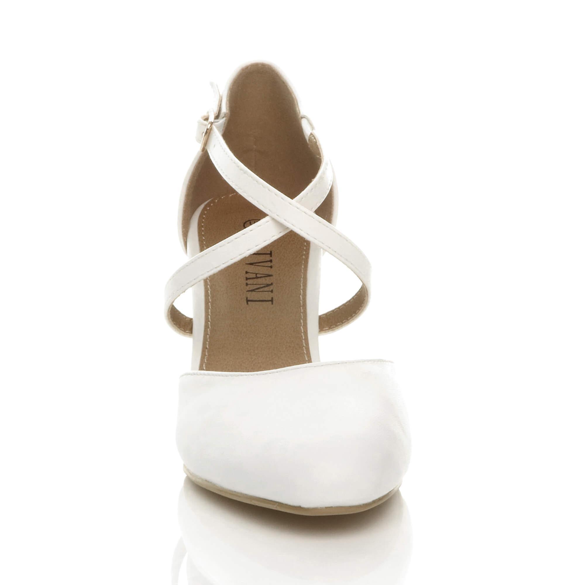 Ajvani dame Mid høj hæl strappy crossover bryllup aften sandaler sko