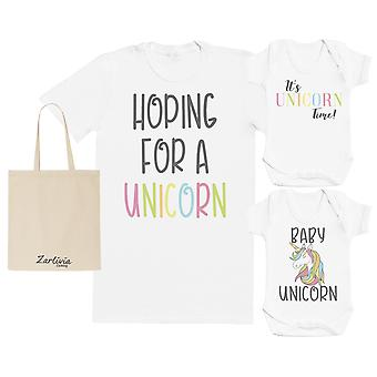 Unicorn Maternity Hospital Gift Set Bag with Hospital T-Shirt & New Baby Bodysuit