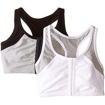 Fruit of the Loom Women's Front Close Racerback (Pack of 2),, Grey, Size 42