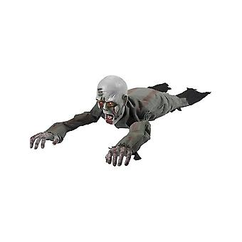 Smiffy's Animated Crawling Zombie Prop, Grey, With Moving Arms & Light Up Eyes