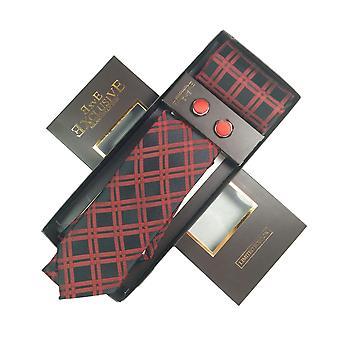 Tie, Cufflink & Hankerchief Set Exlusive Milan Collection 100% Hand Made Cream With Black ,Red & White Check Pattern