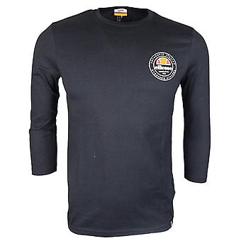 Ellesse Rostoro Black Cotton Rubberised Logo Long Sleeve T-shirt