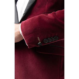 Twisted Tailor mens Bourgondië Tuxedo diner jas skinny fit Velvet contrast sjaal revers