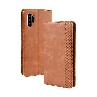 For Samsung Galaxy Note 10+ Plus Case Brown Horse Texture PU Leather Folio Cover