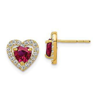 14k Madi K Röd och klar CZ Cubic Zirconia Simulerad Diamond Love Heart Post Örhängen Smycken Gåvor för kvinnor