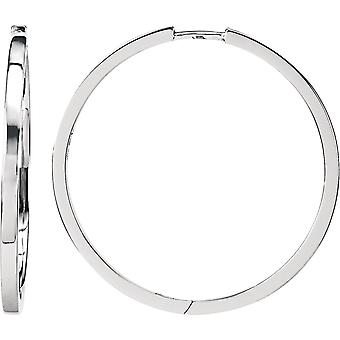 925 Sterling Silver 32.8mm Polished Square Hinged Hoop Earrings Jewelry Gifts for Women - 5.7 Grams