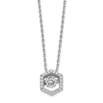 925 Sterling Silber Rhod vergoldet Sechseck lebendige CZ Zirkonia simuliert Diamant mit 2 Zoll Ext. Halskette 16 Zoll Jude