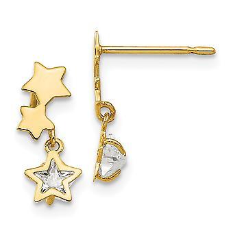 14k keltainen kulta madi k cz cubic zirkonia simuloitu timantti pojille tai tytöille star dangle post korvakorut
