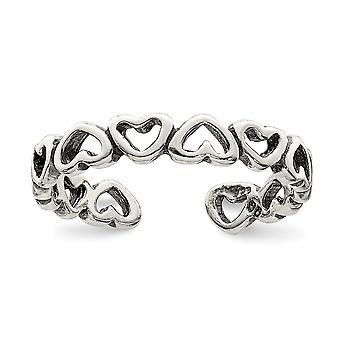 925 sterling sølv polert og antikviteter justerbar kjærlighet hjerte tå ring smykker gaver til kvinner