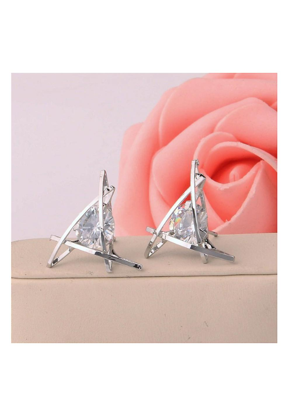 Crystal Triangle Stud Earrings - Silver