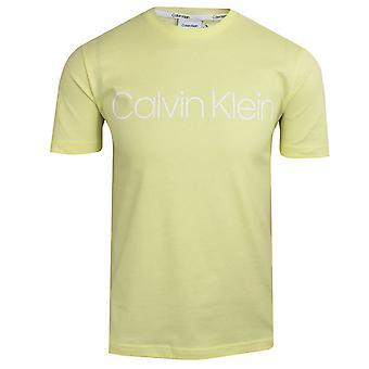 Calvin klein men's pastel yellow cotton front logo t-shirt
