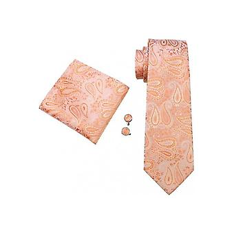 JSS Peach Paisley Patterned Wedding Tie, Pocket Square And Cufflink Set