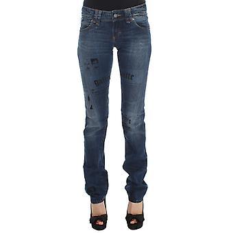 Galliano Blue Wash Cotton Blend Slim Fit Bootcut Jeans -Newspaper Print