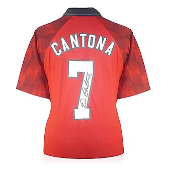 Eric Cantona unterzeichnete Manchester United Heimtrikot 1998