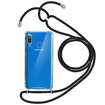 Braided Nylon Lanyard Phone Case for Samsung Galaxy A20- Forcell, Black