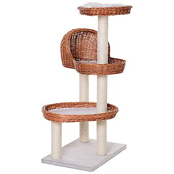 PawHut 4 Tier Cat Tree Activity Center Willow Platforms Kitty Scratcher Play Tower Toy Condo 110 cm