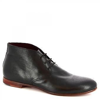 Leonardo Shoes Men's handmade lace-ups chukka boots openwork black calf leather