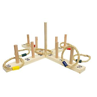 Large Rope Quoits With Carry Bag - Wooden Ring Toss Hoop Game Wooden Pegs Throwing Game With 9 Hoops