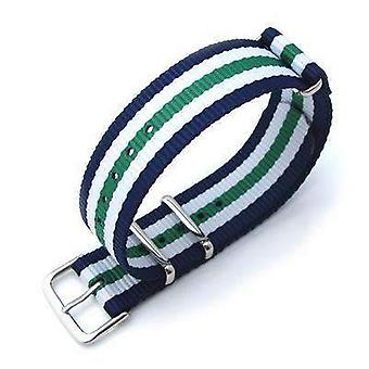Strapcode n.a.t.o watch strap miltat 20mm g10 military watch strap ballistic nylon armband, polished - blue, white & green