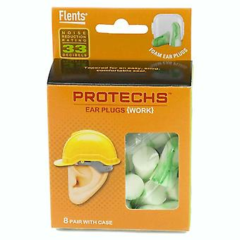Flents protechs work earplugs with case, 8 pairs