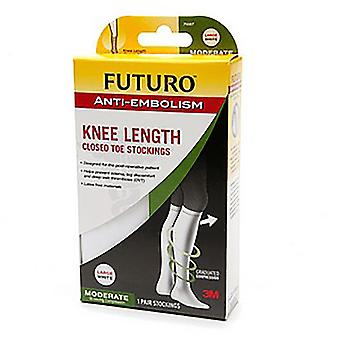 Futuro anti-embolism knee length closed toe stocking, l, white, 1 pair