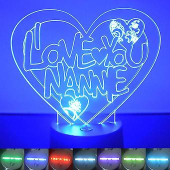 Jeg elsker deg Nannie hjertet farge skiftende LED akryl lys