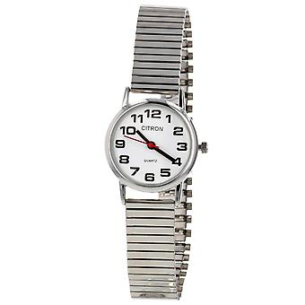 Citron Ladies Classic Big Numbers White Dial Silvertone Expander Strap Watch