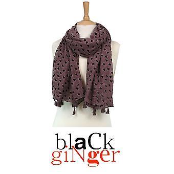 Black Ginger Dark Pink Velvet Feel Scarf with Hearts Design  (734-314)