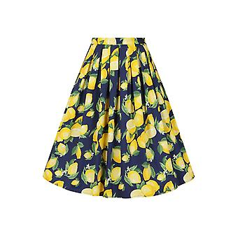 Banned Navy Lemon Pleat Skirt L