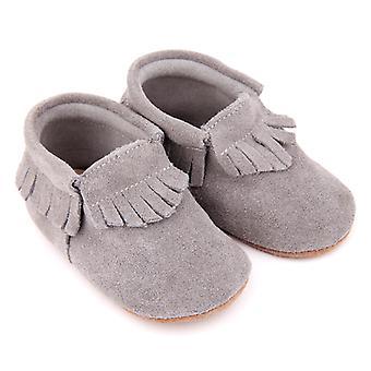 SKEANIE Leather Pre-Walker Moccasin Shoes in Grey