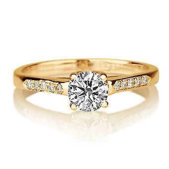 Schöne 0,35 ct weiß Saphir und Diamanten Ring Gelb-Gold 14K