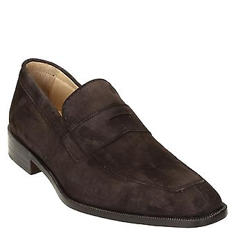 Leonardo Shoes Dark brown suede leather penny loafers shoes handmade
