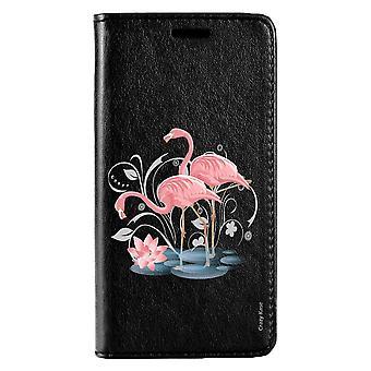 Fall für Huawei P10 schwarz rosa Flamingo Muster