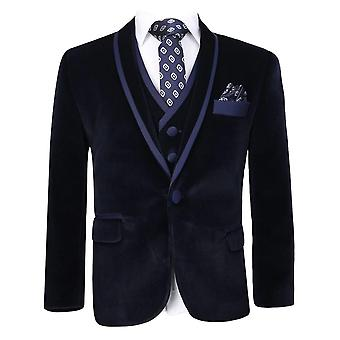 Boys Navy Velvet Tuxedo Suit Sets