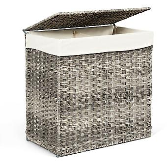110L Large Laundry Basket Washing Clothes Storage Hamper Tidy Bin Hand-woven