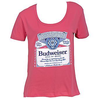 Budweiser Beer Label Women-apos;s Swoop Neck T-Shirt