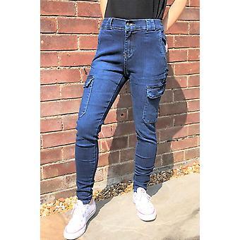 Pantalon slim Skinny Stretch Cargo Jeans Denim Combat