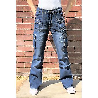 Calças da carga de perna larga estendem combate calças jeans