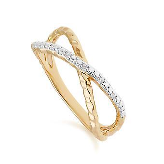 Diamant Pavé gehämmert Crossover Ring in 9ct Gelbgold 191R0908019