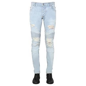 Balmain Th05385z0626aa Men's Light Blue Cotton Jeans