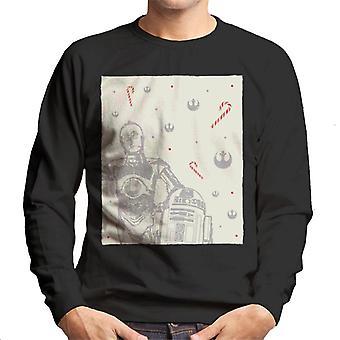 Star Wars Christmas C 3PO Et R2 D2 Candy Cane Men-apos;s Sweatshirt