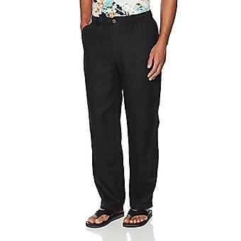28 Palms Men's Relaxed-Fit Linen Pant with Drawstring, Black, X-Large/34