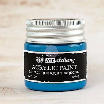 Finnabair Art Alchemy Acrylic Paint Metallique Rich Turquoise